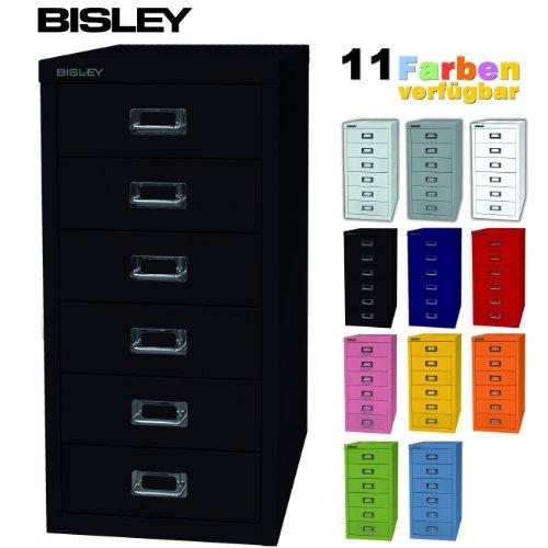 BISLEY-Schubladenschrank-aus-Metall-mit-6-Schben-Schrank-fr-Bro-Werkstatt-und-Zuhause-Stahlschrank-in-11-Farben-Schwarz
