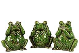 Urban Trends Decorative Ceramic Frog Sculpture, 5.5 by 4 by 5.25-Inch, Yellow Green