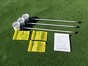 Deluxe Putting Green Accessory Kit - 3 Plastic 4 Inch PGA Cups & 3 Pin Markers... by TJB