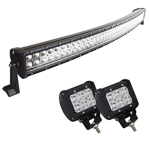 Willpower IP68 240W 10-30V Waterproof Curved LED Light Bar (42 Inch) with 2 Piece 18W 4'' LED Lights for Truck Car ATV SUV 4X4 Jeep Truck Driving Lamp (35 Watt 18650 compare prices)