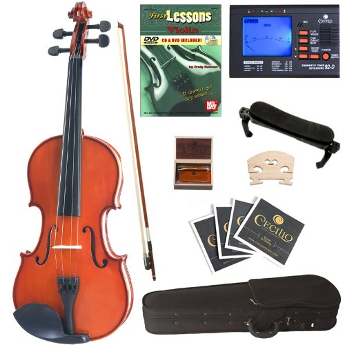 Cecilio Cvn-100 Solid Wood Student Violin With Tuner And Lesson Book, Size 1/4