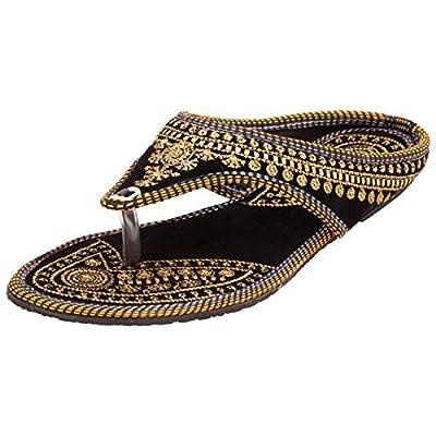 Footrendz Women's Ethnic Embroidered Velvet Shoe