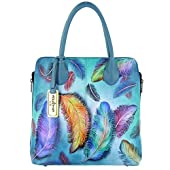 Anuschka Genuine Leather Medium Zipped Hobo Hand Painted (Floating Feathers)