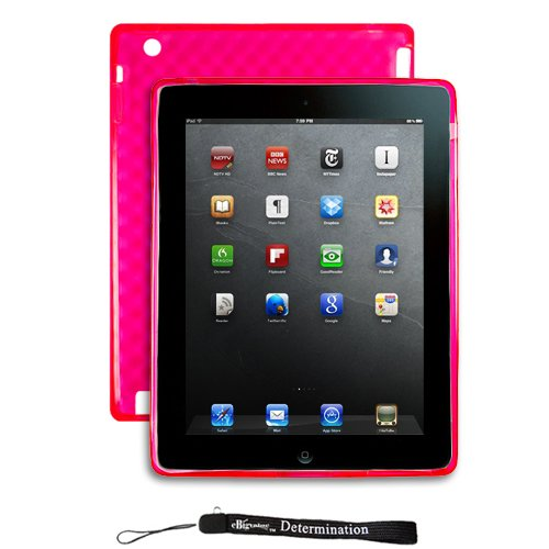 Durable Hot Pink Protective TPU Silicone Gel Skin Cover Case with Full Texture Design for New Apple iPad 2 ( Only for iPad 2nd Generation )