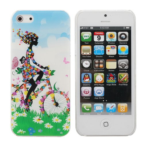 New Fresh Flower Lady Cycling Pattern Hard Case Cover For iPhone 5 5G