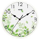 Hense Clocks(ハンセ)壁掛け時計 おしゃれ シンプル 薄型 アナログ時計 消音 連続秒針 HW87-03 緑色葉白い