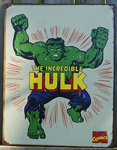 The Incredible Hulk Tin Sign 12 x 16in (Marvel Sign compare prices)