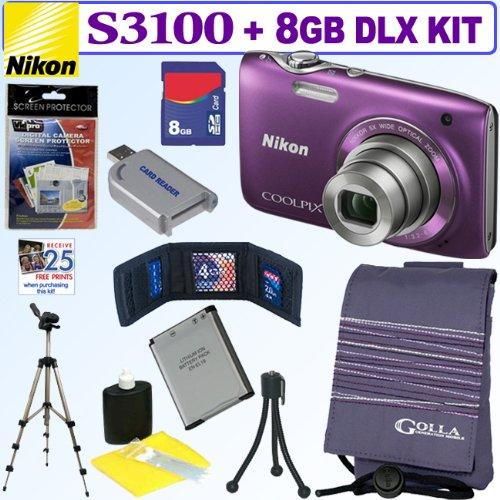 Nikon Coolpix S3100 14 MP Digital Camera (Purple) + 8GB Deluxe Accessory Kit