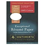 Southworth Resume Paper, Cotton Fiber, 24 lb, 8-1/2 x 11 Inches, 100 per Box, White (SOUR14CF)