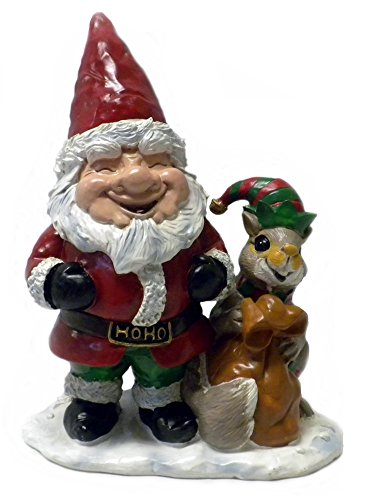 [Santa Gnome w/ Squirrel Elf Christmas Statue Yard Decor] (Unique Santa Costumes)