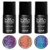 BMC 3pc Flakey Iridescent Duotone Glitter Gel Nail Lacquers - Snake Charmer: Set 1