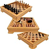 Steal A Deal 7 in 1 Wooden Board Game Set Compendium Travel Games Backgammon Chess Dominoes Poker