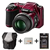 Nikon Coolpix L820 - Red + Case + 32GB Memory Card + Battery and Charger (16 MP, 30x Optical Zoom) 3 inch LCD