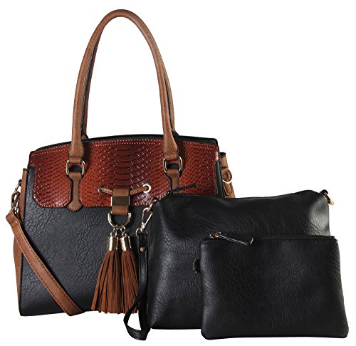 diophy-pu-leather-two-tone-3-pieces-set-large-tote-with-snake-skin-pattern-tassels-decor-womens-purs