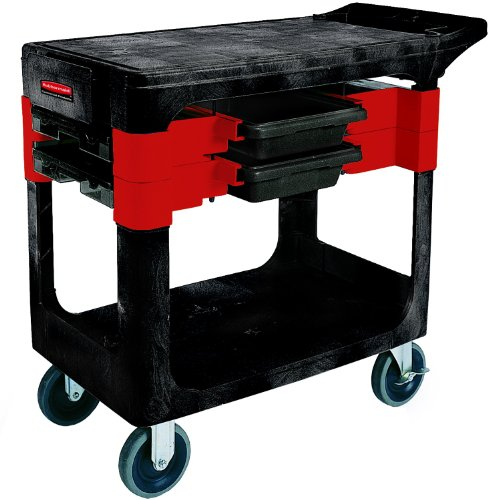 Rubbermaid Commercial Service Cart with 2 Boxes and 4 Bins, 2 Shelves, Black, 330 lbs Load Capacity, 33-1/8