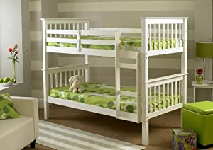 Atlantis Pinewood White Bunk Bed, Two Sleeper, Quality Solid Pine Wood BUNK BED Frame