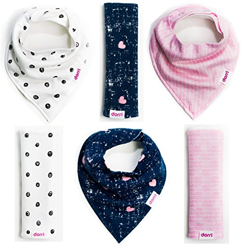 Dorri Cotton Baby Bandana Bibs and Burp Cloth with Snaps - Girls - 6 Pack