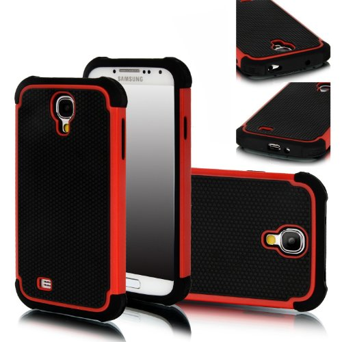Cocoz®hybrid Dual Layer Protective Case Cover (Hard Plastic with Soft Silicon) for Samsung Galaxy S4 S Iv I9500 with Cleaner (Samsung Galaxy S4, Red)+dust Stylus (Not for Samsung Galaxy S4 Active)r020 at Amazon.com