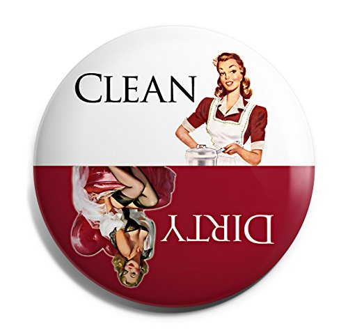 Red Retro Clean Dirty Dishwasher Magnet