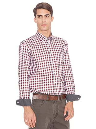 Barbour Camisa Country Franela (Blanco / Granate)