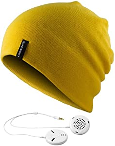 AERIAL7 Sound Disk Beanie Perisher Yellow w/ Built-in headphones and microphone for use with iPhone®, BlackBerry® and Other Mobile Phones by AERIAL7