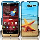 For Motorola Droid RAZR M 4G LTE XT907 (Verizon) Rubberized Design Cover - Star Fish