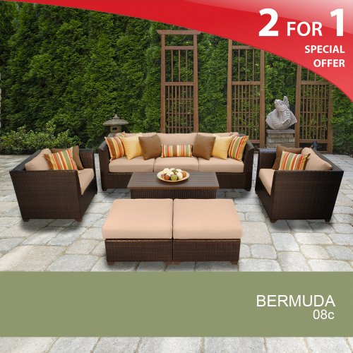 Bermuda 8 Piece Outdoor Wicker Patio Furniture