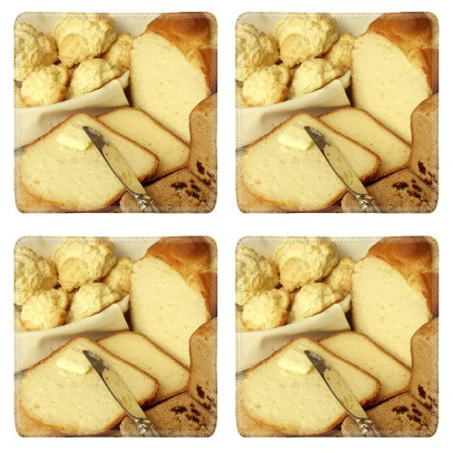 Loaf Bread Raisin Butter Food Square Coaster (4 Piece) Set Fabric Rubber 5 Inch Size Luxlady Coaster Cup Mug Can Water Bottle Drink Coasters Stain Resistance Collector Kit Kitchen Table Top Desk front-543623