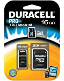 Duracell DU-3IN1C1016G-R 16GB MicroSD C10 with 2 Adapters