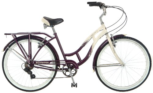 Schwinn Women's Sanctuary 7-Speed Cruiser Bicycle (26-Inch Wheels), Cream/Burgundy, 16-Inch