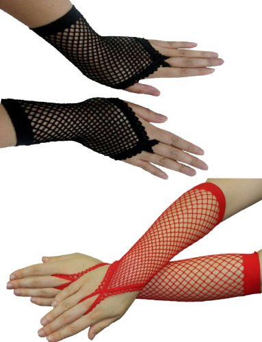 Yummy Bee Women's Fishnet Fingerless Long Gloves Long
