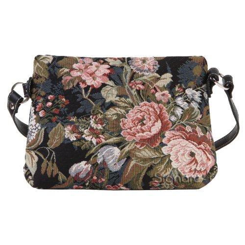 Signare Fashion Canvas /Tapestry Acrossbody bag/ Messenger Bag/ Peony Design