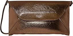 Patzino Fashion Collection, Faux Leather Croco Chic Women\'s Envelope Clutch (Flat Bronze)