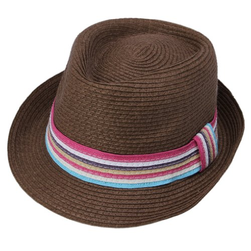 JTC Lady Beach Straw Sun Hat Bowler Cap Visor Turn-up Brimmed Cowboy Brown