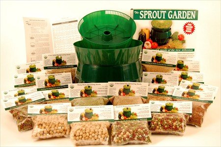 Deluxe Sprouting Starter Kit w/ 12 Lbs. Of Organic Seed - Everything To Grow Sprouts: 3 Tray Sprout Garden, Seeds: Alfalfa, Radish, Clover, Mung Bean, Garbonzo Beans, Green Pea, Crunchy Lentil Fest & More
