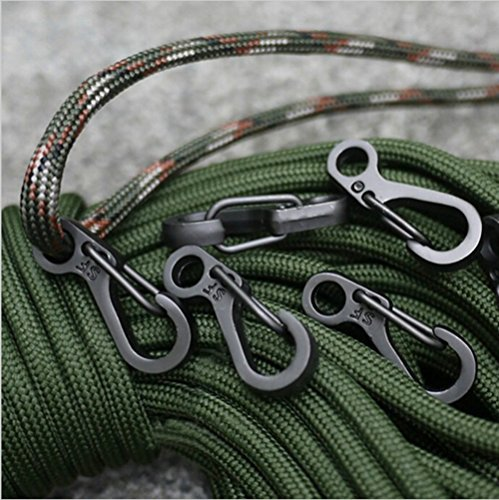 SZHOWORLD® 10PCS/LOT Mini SF Spring Backpack Clasps Climbing Carabiners EDC Keychain Camping Bottle Hooks Paracord Tactical Survival Gear (Black) (Used Tactical Gear compare prices)