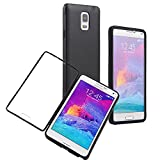 Queens® Flip Case Cover for Samsung galaxy Note4 IV ,scratch Resistant Flip Case Cover for Samsung galaxy Note4 IV Screen Full Scratch Protection and Hybrid Crystal Clear Front Anti-scratch Clearly Stylus Slim Fit Screen Protector, Smooth TPU Back Shel Shock-absorption Bumper Premium Cover Case for Samsung galaxy Note4 IV+ Screen protect (1-Black)