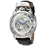 Invicta Men's 'Objet d'Art' Automatic Stainless Steel and Leather Casual Watch, Color:Black (Model: 22613) (Color: silver)