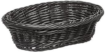 "Carlisle 655003 Polypropylene Woven Oval Basket, 9"" Length x 6-1/4"" Width x 2-1/2"" Height, Black (Case of 6)"