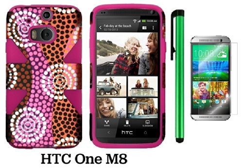 Htc One (M8) Dynamic Slim Hybrid Premium Pretty Design Protector Cover Case + Screen Protector Film + 1 Of New Assorted Color Metal Stylus Touch Screen Pen (Colorful Ethnic Wave Plastic / Pink Silicone)