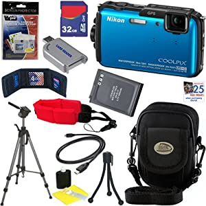 Nikon COOLPIX AW110 16 MP Waterproof Digital Camera with GPS & Built-In Wi-Fi (Blue) + EN-EL12 Battery + 10pc Bundle 32GB Deluxe Accessory Kit