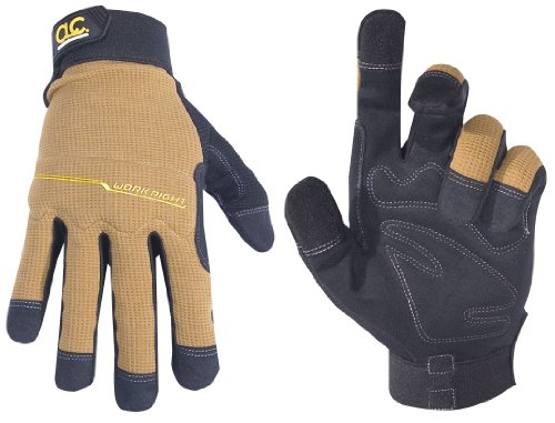 Custom Leathercraft 124L Workright Flex Grip Work Gloves, Large Industrial Work Gloves