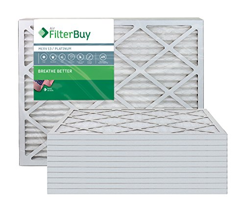 AFB Platinum MERV 13 25x32x1 Pleated AC Furnace Air Filter. Pack of 12 Filters. 100% produced in the USA.