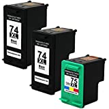 Valuetoner Remanufactured Ink Cartridge Replacement For Hewlett Packard HP 74XL & HP 75XL High Yield CB336WN CB338WN (2 Black, 1 Tri-Color) 3 Pack Compatible With Deskjet D4260 D4280 D4360 Officejet J5725 J5730 J5740 J5750 J5780 J5790 J6405 J6450 J6480 Photosmart C4200 C4250 C4270 C4280 C4293 C4300 C4400 C4424 C4435 C4440 C4450 C4470 C4480 C4493 C4500 C4524 C4540 C4550 C4575 C4580 C4599 C5200 C5225 C5240 C5250 C5270 C5280 C5290 C5500 C5540 C5550 C5580 D5300 D5360 Printer