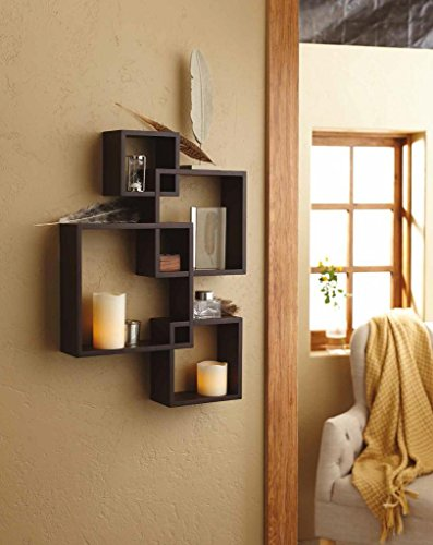 Shelving Solution Intersecting Squares Floating Shelf ,2 LED Candles Included - Espresso
