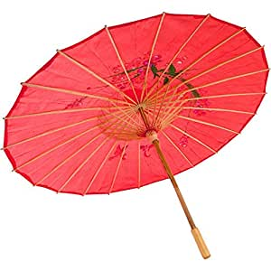 Asian Japanese Chinese Umbrella Parasol 32in Red 156-4