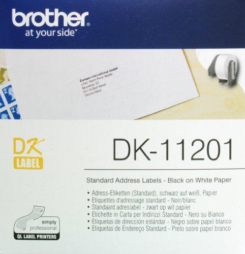 Brother - DK-11201 - Étiquettes d'Adressage Standard - Noir/Blanc 29 x 90 mm