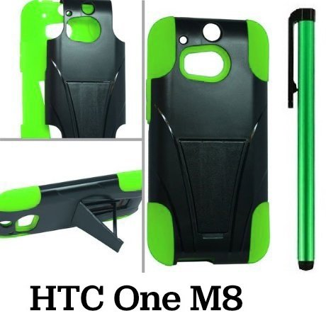 Htc One M8 Premium Pretty T-Stand Design Protector Hard Cover Case (2014 Q1 Released; Carrier: Verizon, At&T, T-Mobile, Sprint) + 1 Of New Assorted Color Metal Stylus Touch Screen Pen (Green / Black)