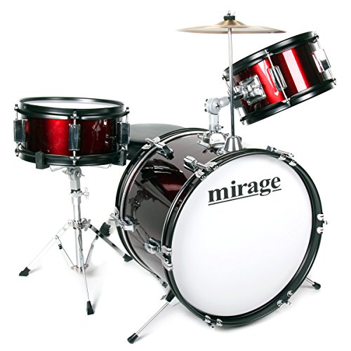 mirage-jdk-3-piece-junior-drum-kit-with-stool-and-sticks-red