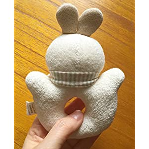 100% Certified Organic Cotton Baby Rabbit Rattle (No Dyeing Natural Organic Cotton)